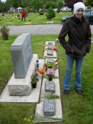 Carly at Palfreyman Plot-The seven little headstones are for seven children who died young.