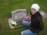 Carly at Palfreyman Plot, her great grandma Hanna Butler Palfreyman's headstone