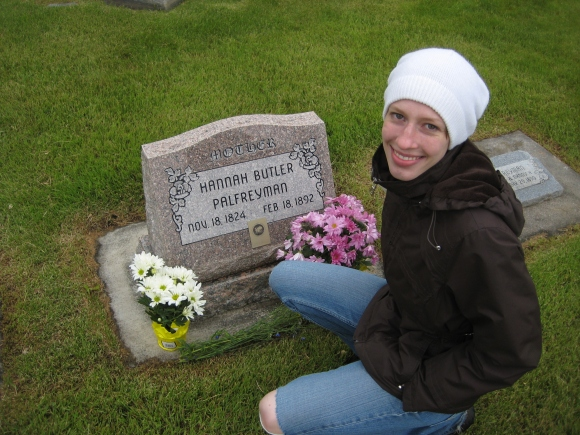 Carly at Palfreyman Plot, her great grandma Hanna Butler Palfreyman's headstone