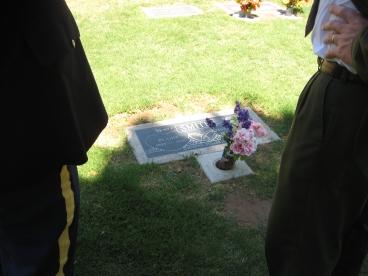 Keith Jr. & Uncle John Smith at Great Grandpa & Grandma's Grave