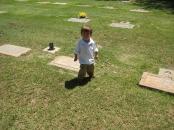 Blaine at Great Grandpa Blaine's Grave Site